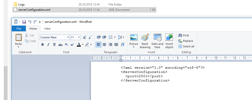 Example of  a serverConfiguration.xml file