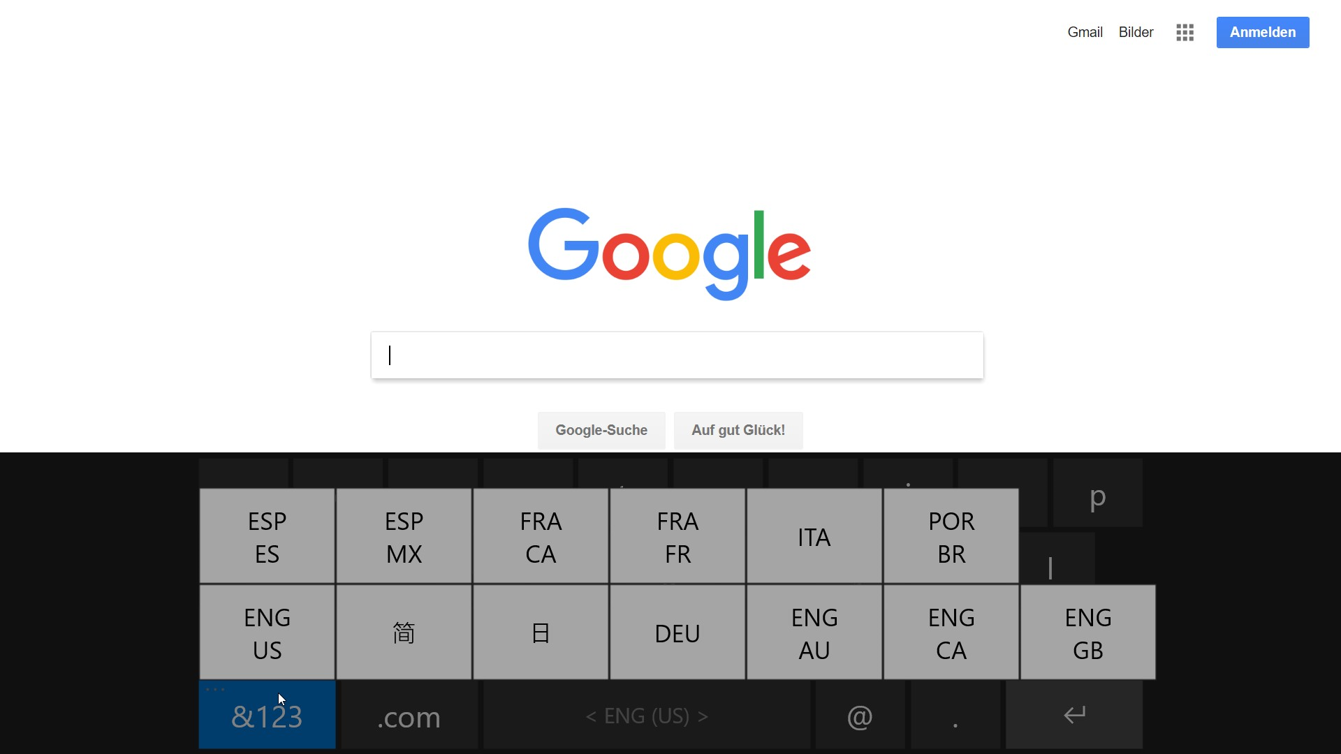 Peakboard Keyboard Screenshot