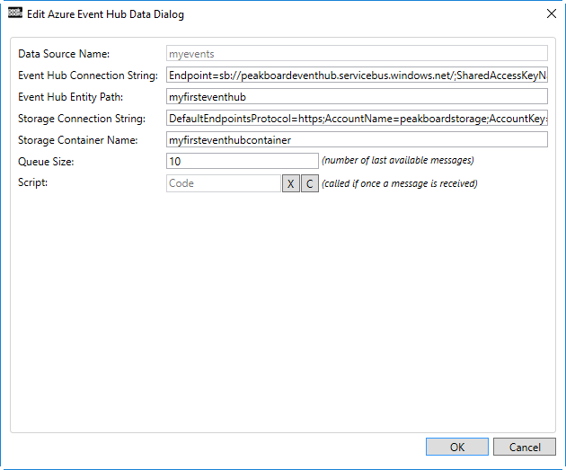 Edit Azure Event Hub Data Dialog